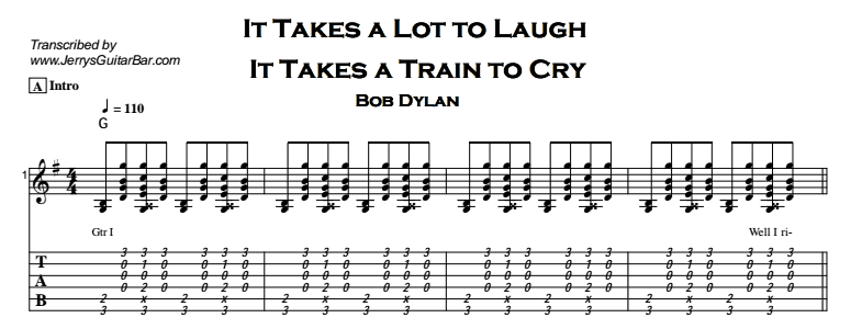 Bob Dylan – It Takes a Lot to Laugh Tab