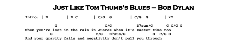Bob Dylan – Just Like Tom Thumb's Blues Chords & Songsheet