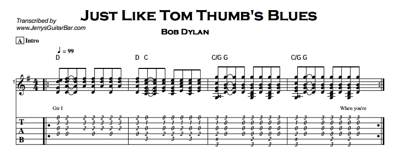 Bob Dylan – Just Like Tom Thumb's Blues Tab