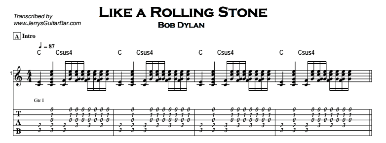 Bob Dylan – Like a Rolling Stone - Jerry\'s Guitar Bar