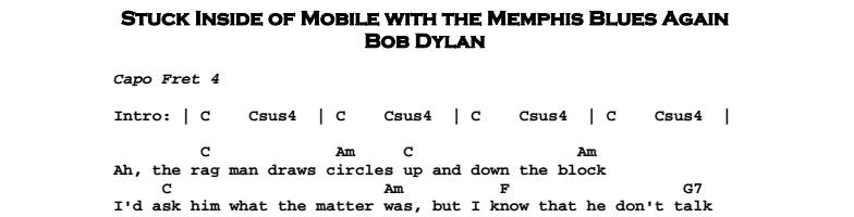 Bob Dylan – Stuck Inside of Mobile Chords & Songsheet