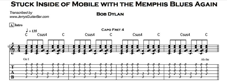 Bob Dylan – Stuck Inside of Mobile Tab