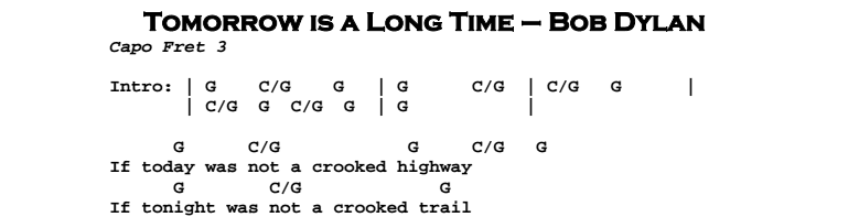Bob Dylan – Tomorrow is a Long Time Chords & Songsheet