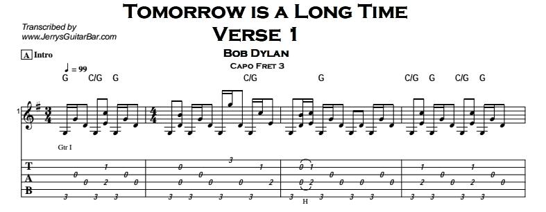 Bob Dylan – Tomorrow is a Long Time Tab