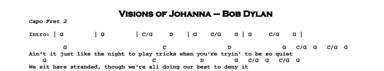 Bob Dylan – Visions of Johanna Chords & Songsheet