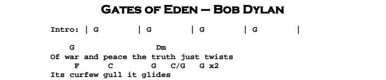 Bob Dylan – Gates of Eden Tab Chords & Songsheet