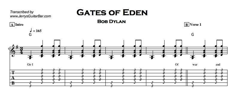 Bob Dylan – Gates of Eden Tab