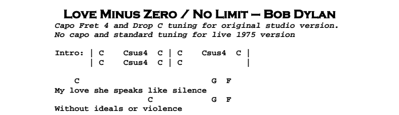 Bob Dylan – Love Minus Zero / No Limit Chords & Songsheet