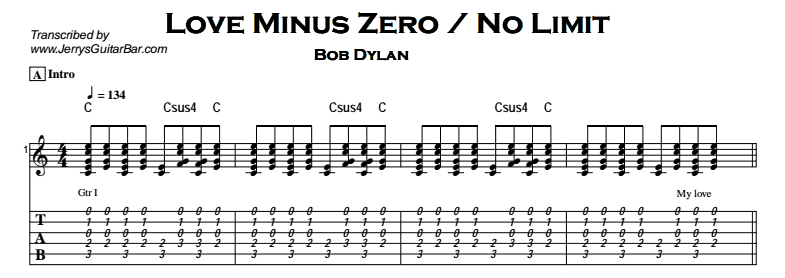 Bob Dylan – Love Minus Zero / No Limit Tab