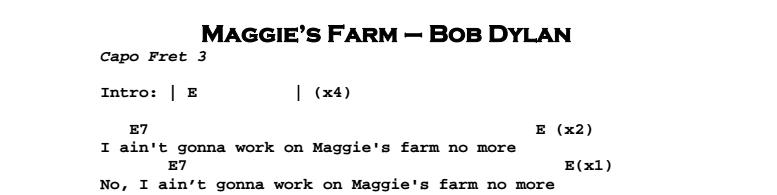 Bob Dylan – Maggie's Farm Chords & Songsheet