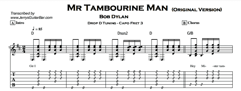 Bob Dylan – Mr Tambourine Man - Jerry\'s Guitar Bar