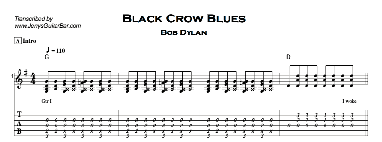 Bob Dylan – Black Crow Blues Tab
