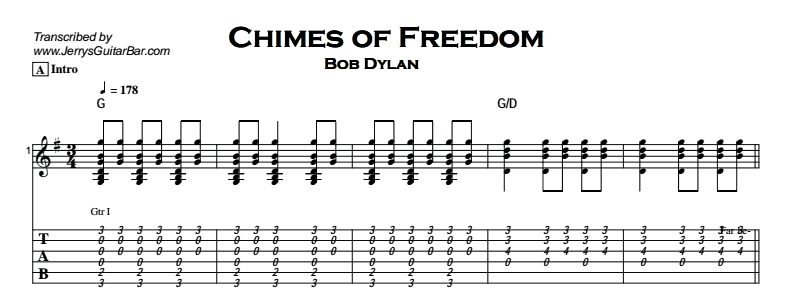 Bob Dylan – Chimes of Freedom Tab