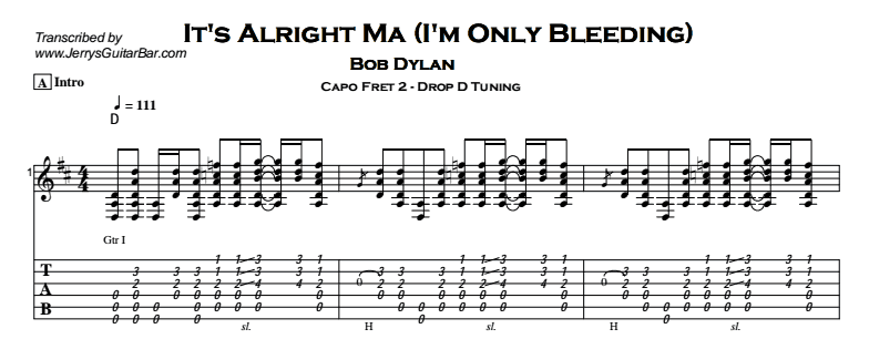 Bob Dylan – It's Alright Ma (I'm Only Bleeding) Tab