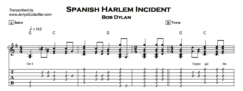 Bob Dylan – Spanish Harlem Incident Tab