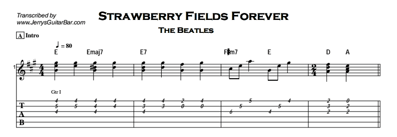 Beatles - Strawberry Fields Forever Tab