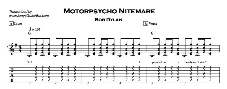 Bob Dylan – Motorpsycho Nitemare Tab