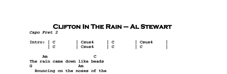 Al Stewart – Clifton In The Rain Chords & Songsheet