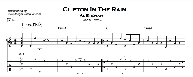 Al Stewart – Clifton In The Rain Tab