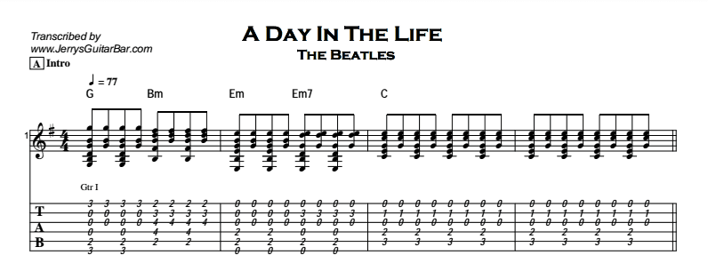 Beatles - A Day In The Life Tab