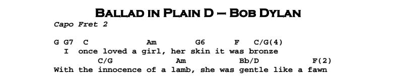 Bob Dylan – Ballad in Plain D Chords & Songheet