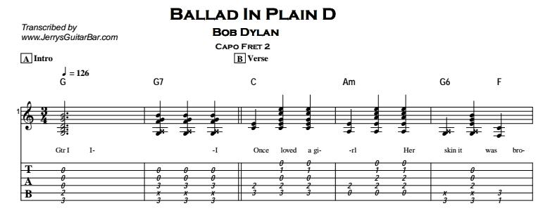 Bob Dylan – Ballad in Plain D Tab