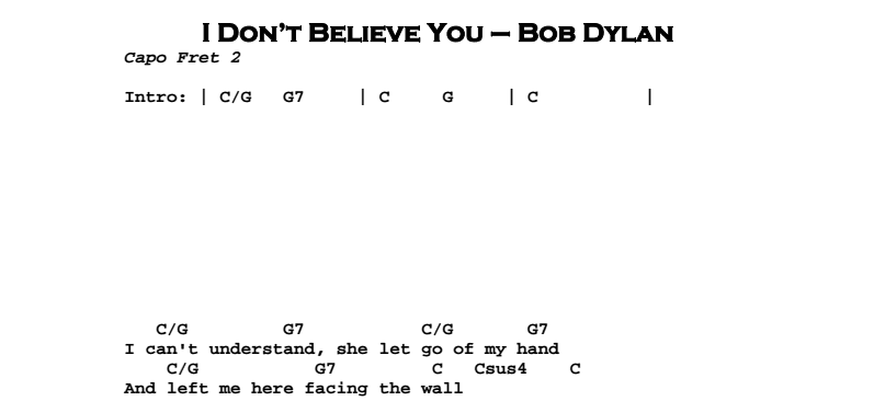 Bob Dylan – I Don't Believe You Chords & Songsheet