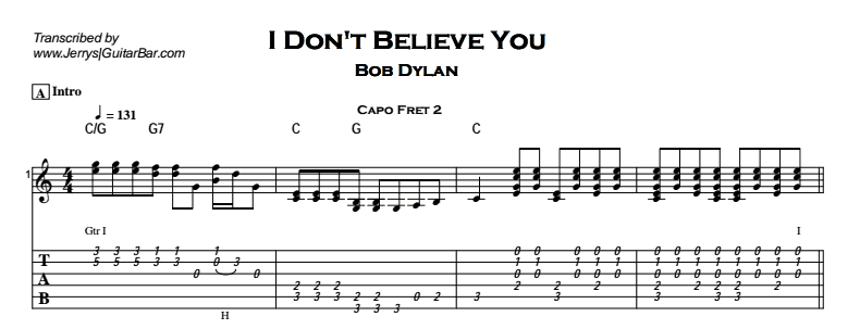 Bob Dylan – I Don't Believe You Tab