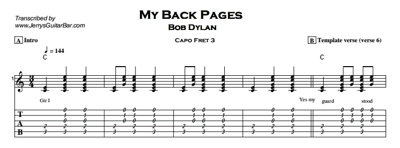Bob Dylan – My Back Pages Tab