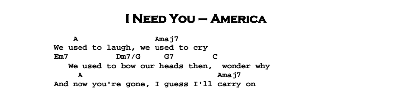 America – I Need You Chords & Songsheet