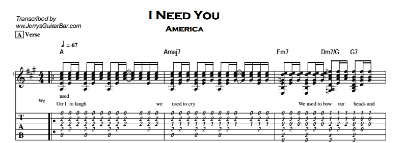 America – I Need You Tab