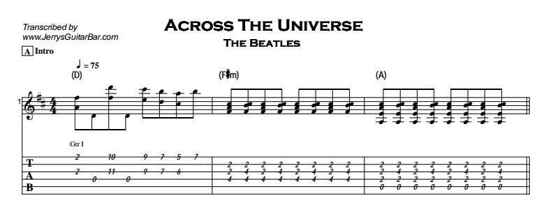 Beatles - Across The Universe Tab