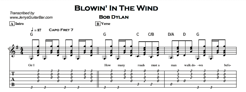 Bob Dylan – Blowin\' In The Wind - Jerry\'s Guitar Bar