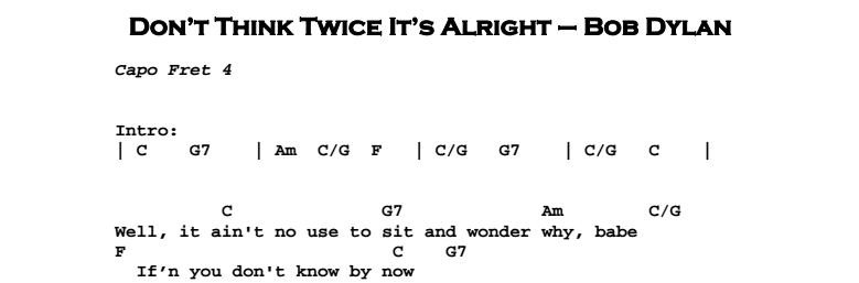 Bob Dylan – Don't Think Twice It's Alright Chords & Songsheet
