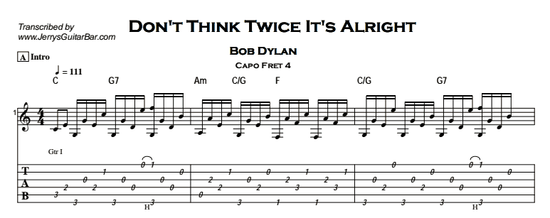 Bob Dylan – Don't Think Twice It's Alright Tab