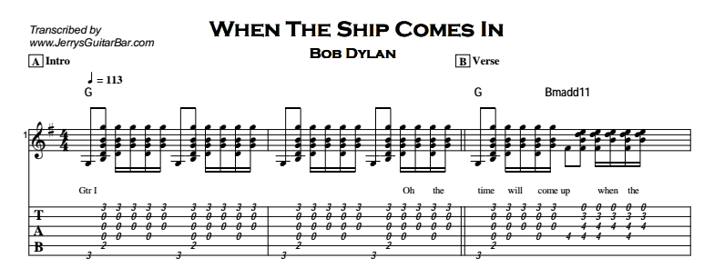 Bob Dylan – When The Ship Comes In Tab