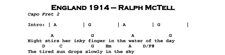 Ralph McTell – England 1914 Chords & Songsheet