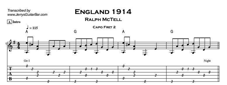 Ralph McTell – England 1914 Tab