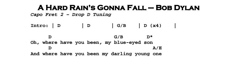 Bob Dylan – A Hard Rain's Gonna Fall Chords & Songsheet
