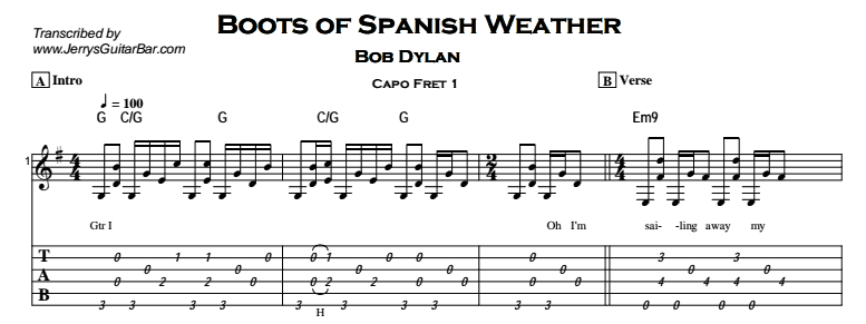 Bob Dylan – Boots of Spanish Leather Tab