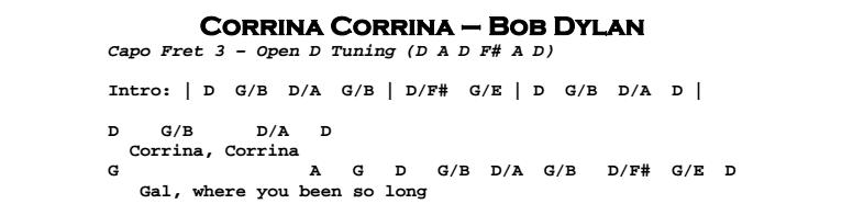 Bob Dylan – Corrina Corrina Chords & Songsheet