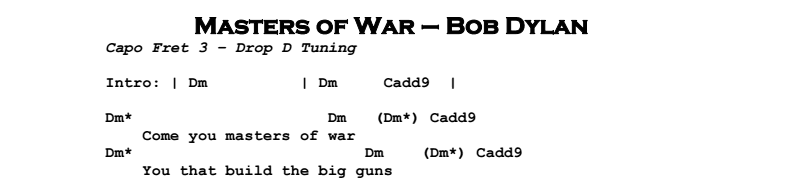 Bob Dylan – Masters of War Chords & Songsheet