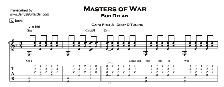 Bob Dylan – Masters of War Tab