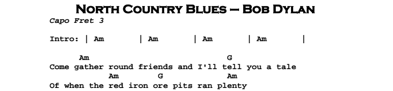 Bob Dylan – North Country Blues Songsheet