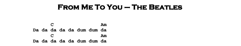 Beatles - From Me To You Songsheet & Chords