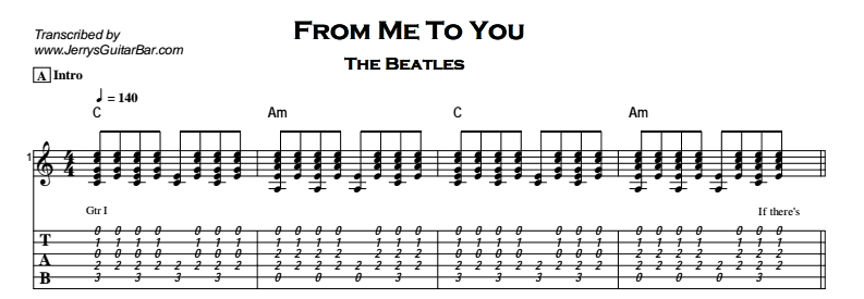 Beatles - From Me To You Tab