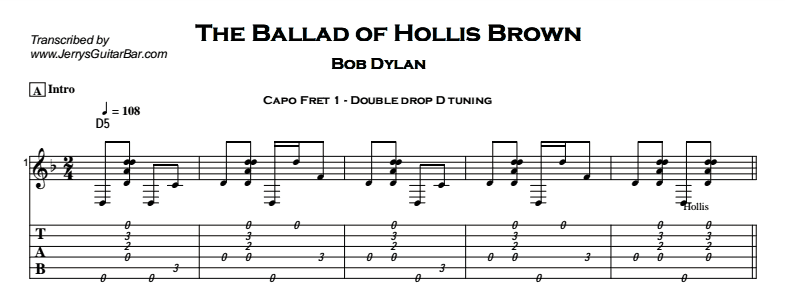 Bob Dylan – The Ballad of Hollis Brown Tab
