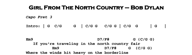 Bob Dylan – Girl From The North Country Chords & Songsheet