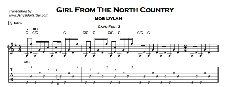 Bob Dylan – Girl From The North Country Tab