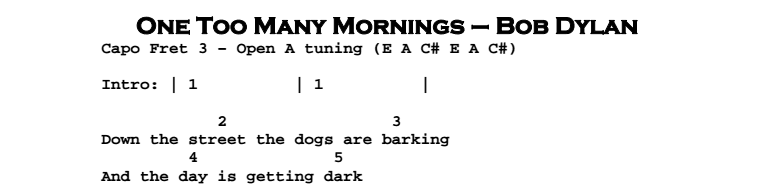 Bob Dylan – One Too Many Mornings Chords & Songsheet